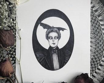Isabelle - 8x10 Fine Art Print - Victorian Vampire - Dark Art - Gothic Illustration