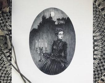 The Haunting - Fine Art Print - Gothic Romance - Victorian - Gothic - Candelabra - Spooky - Castle - Full Moon - Dark Art - Illustration