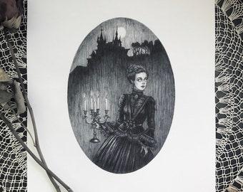 The Haunting - 8x10 Fine Art Print - Gothic Romance - Full Moon - Castle - Cadelabra - Gothic - Dark Art - Spooky - Haunted - Illustration
