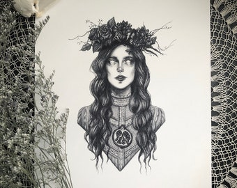 Persephone - Fine Art Print - Greek Goddess of Spring and Queen of the Underworld - Pagan - Witch - Dark Art - Gothic Illustration