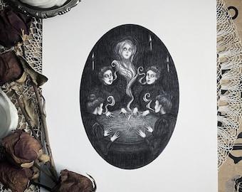 The Seance - Fine Art Print - Victorian Spiritualism - Ghosts - Dark Art - Gothic Illustration