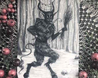 Krampus - 5x7 Fine Art Print - Krampusnacht - Holiday Monster - Dark Art - Gothic Illustration