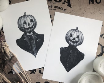 Husband & Wife Pumpkin Couple Print Set - Vintage Halloween - Pumpkin - Victorian - Portrait - Dark Art - Illustration