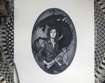 Ripley - 5x7 Fine Art Print - Alien - Fan Art - Dark Art - Horror - H. R. Giger - Xenomorph - Science Fiction - Illustration