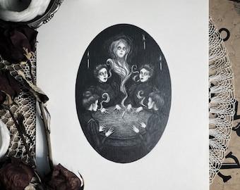 The Seance - Original Drawing by Caitlin McCarthy - Victorian Spiritualism - Ectoplasm - Dark Art - Gothic Illustration