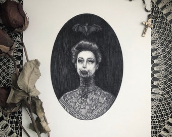 Carmilla - 8x10 Fine Art Print - Victorian Vampire - Gothic Illustration - Horror - Dark Art