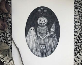 Trick or Treat - Fine Art Print - Vintage Halloween - Illustration - Creepy Cute