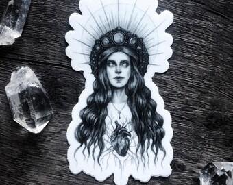 """Hecate - 3"""" Die Cut Vinyl Sticker - Greek Goddess of Witchcraft and the Moon - Dark Art - Gothic Illustration"""