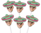 Sombrero Cupcake Toppers with Custom Face Photo (12 count) - green sombrero, Cinco De Mayo, May 15, Sugar skulls, Birthday party