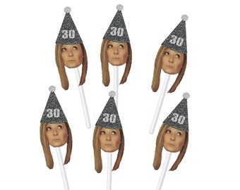 30th Birthday Cupcake Toppers with Face and Birthday Hat, Thirtieth, 30, Thirty, Custom, Personalized, Black Glitter, Black