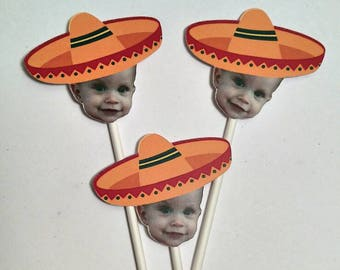 Sombrero Cupcake Toppers with Custom Face Photo (12 count) - Orange or  Green Sombrero 38b0fc2e5ea