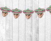 Sombrero Face Banner, Cinco De Mayo, Personalized, Funny, Hat, Fiesta Birthday, Bachelorette, Cindo de Mayo, Dia de los Muertos, 30th, 40th