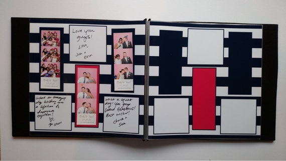 Navy And Coral Photo Booth Guest Book Album 3 Photos Etsy