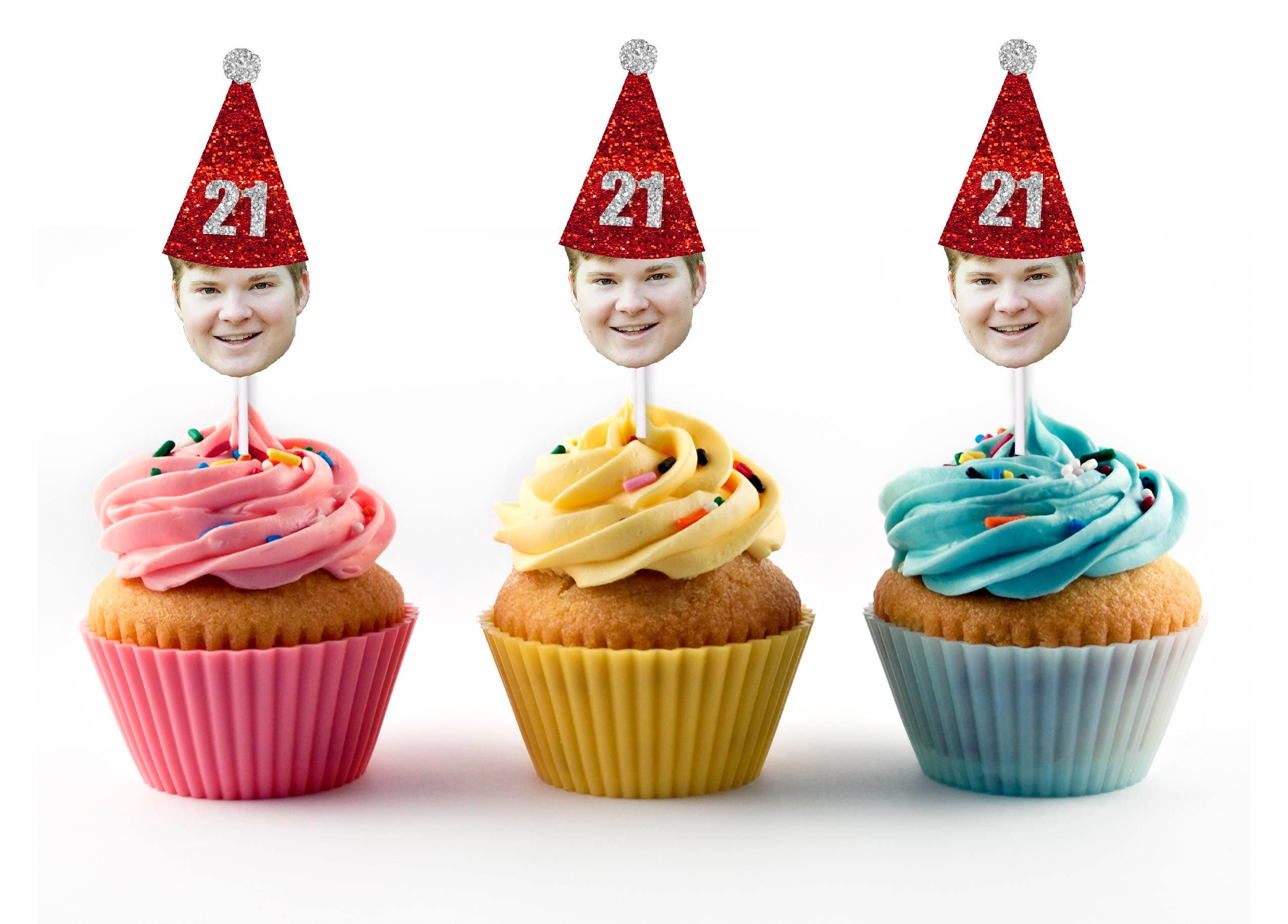 21st Birthday Cupcake Toppers With Face And Hat