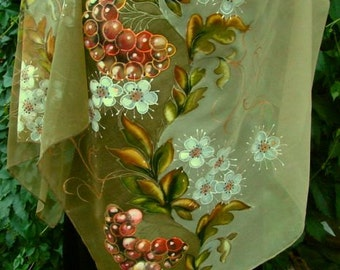 Scarf.Natural silk scarf - floral, rowan-tree beige ,a hand- painted scarf.