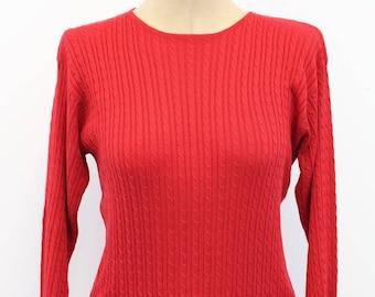 Vintage 1980s Henri Bendel 100% Silk Red Sweater L Large Pullover