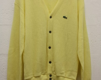 2d9376f44fa0c Vintage 1960s IZOD Lacoste Cardigan Sweater Yellow Sz Large Knitted Long  Sleeve Button Front Made in USA