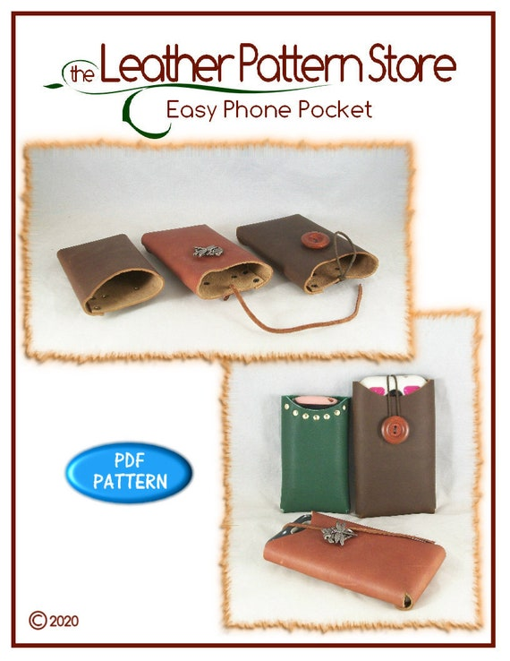 Pattern for leather PDF instant download ONLY PATTERN Easy Phone Pocket leathercraft pattern