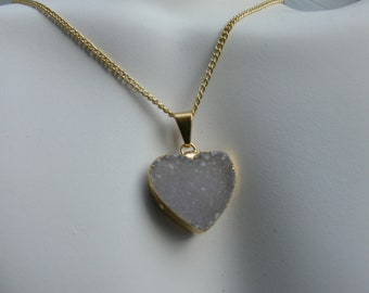 Druzy Heart Gold Plated Necklace