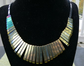 Reversible Hematite Blue and Gold Bars Necklace