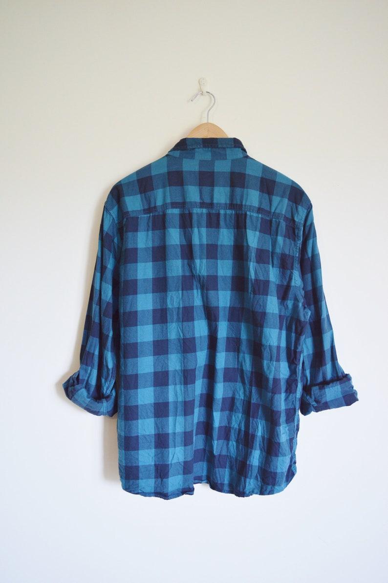 vintage mens blue plaid checked button down shirt