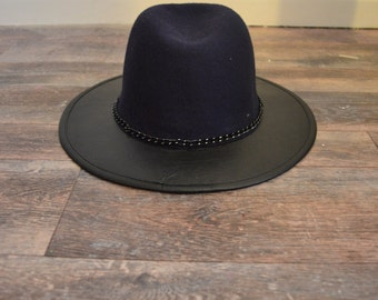 Wide Brimmed Wool & Faux Leather Fedora