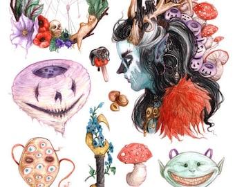 """Halloween Sticker Set """"Samhain Rites"""" by Amara - 14 pieces matte vinyl"""