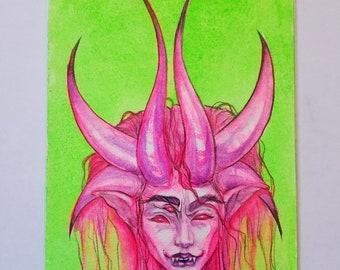 "Char - Original 5×7"" UV Watercolor Art by Amara"