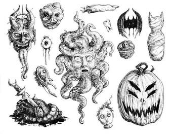 """Halloween Sticker Set """"Horrors in Ink"""" by Amara - 13 pieces matte vinyl"""