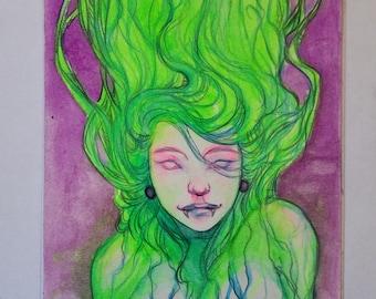"Delphia - Original 5×7"" UV Watercolor Art by Amara"