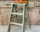 VIntage Antique Wood Step Ladder Stool Light Green paint primitive wood stool rustic country farmhouse