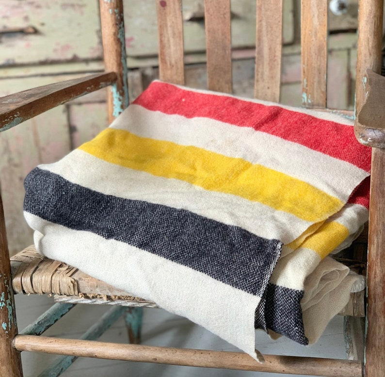 Vintage Hudson Bay STYLE blanket Wool 3 stripes twin size red black yellow striped