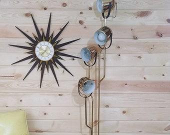 MCM Mid Century Modern Gold Brass 4 Light Reggiani Floor Lamp Made in Italy