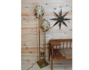Mid Century Double Gold Leaves/Leaf Floor Lamp with Flower Display