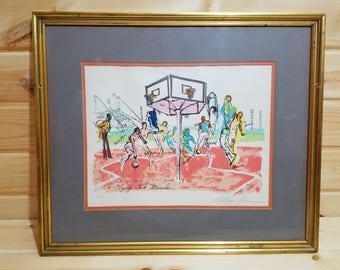 """Basketball by Leroy Neiman Munich Suite 1972 Limited Edition Serigraph on Paper 14/250 11 1/2"""" x16"""""""