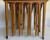 Vintage Wood Rolling Danish Scandinavian Nesting Tables Set of 5, 4 Nest, Bar Cart, Trolley SEE SHIPPING DESCRIPTION