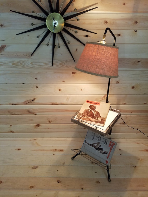 Amazing Mid Century Modern Mcm Magazine Side Table With Lamp Attached Andrewgaddart Wooden Chair Designs For Living Room Andrewgaddartcom