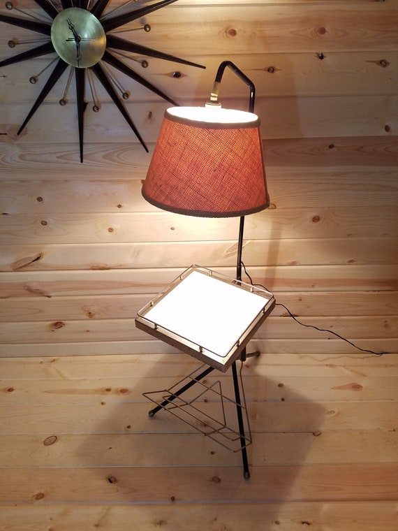 Awe Inspiring Mid Century Modern Mcm Magazine Side Table With Lamp Attached Andrewgaddart Wooden Chair Designs For Living Room Andrewgaddartcom