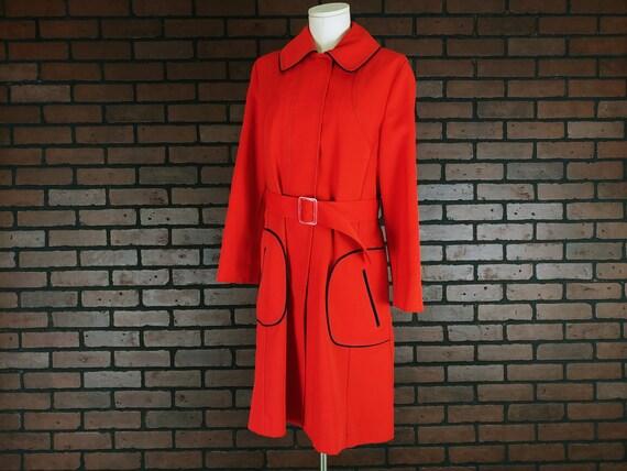 Montgomery Ward Red Orange Trench Coat Jacket with