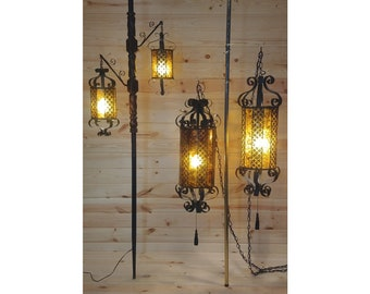 Retro Gothic Tortoise Shell Style Scroll Tension Pole and 2 Swag Chain Hanging Light Lamp