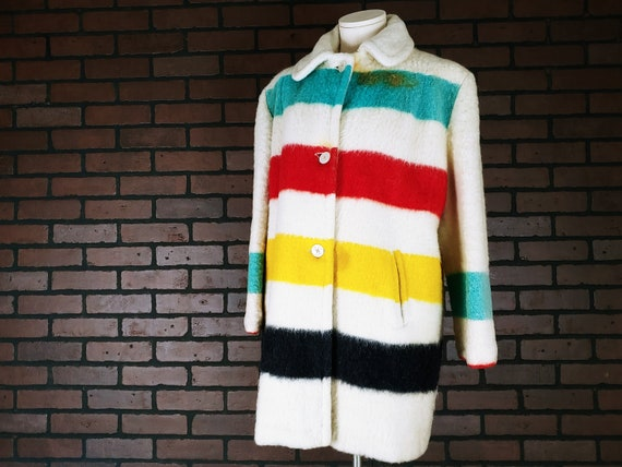 Vintage 1960s Authentic Wool Stripe Hudson Bay Poi