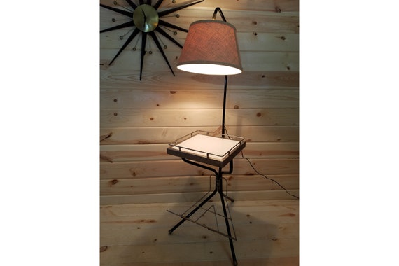 Phenomenal Mid Century Modern Mcm Magazine Side Table With Lamp Attached Andrewgaddart Wooden Chair Designs For Living Room Andrewgaddartcom