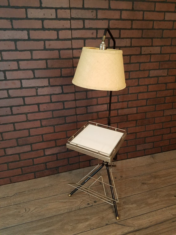Fantastic Mid Century Modern Mcm Magazine Side Table With Lamp Attached Andrewgaddart Wooden Chair Designs For Living Room Andrewgaddartcom