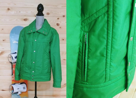 Vintage White Stag Mens Green Ski Jacket Size Medi
