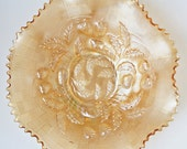 Carnival Glass Bowls Embossed Strawberry Peach Colour Design From Imperial Or Northwood Glass - Circa 1910-30.