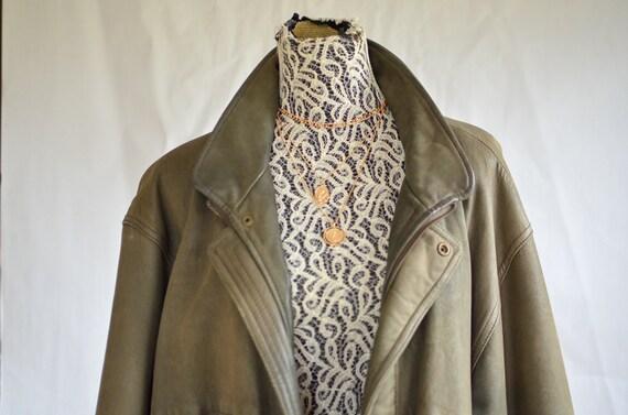 90s leather jacket/ vintage aviator jacket/ xl lea