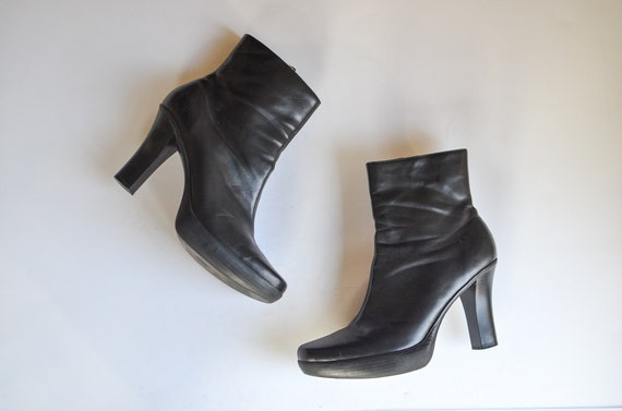 90s Black Vegan Leather Boots 9/ Ankle Boots Women
