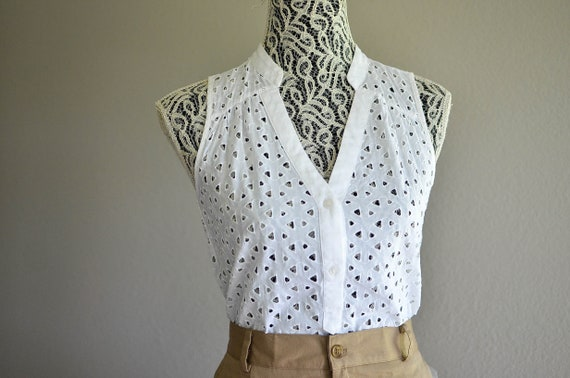 Cotton Eyelet Blouse / Minimalist White Cotton Top