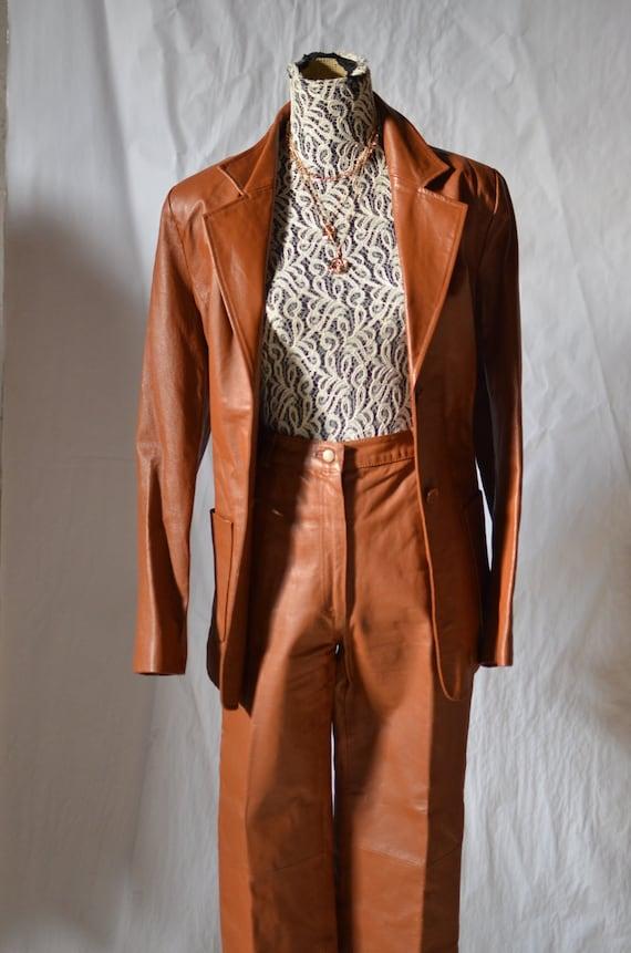70s Leather Pants Suit/ camel 2 piece set/ womens