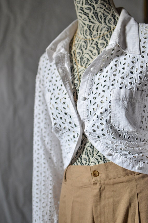 White button down blouse / eyelet blouse womens/ o